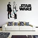 (180x 125cm) Star Wars Vinyl Wand Aufkleber/Obi Wan Kenobi & Anakin Skywalker mit Lichtschwert die cut Decor Sticker Selbstklebend + Gratis Aufkleber Geschenk macht.