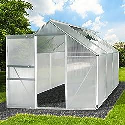 Aluminium Gewächshaus mit Stahlfundament 5,85m³ Alu Gartenhaus Treibhaus Garten 190x190cm