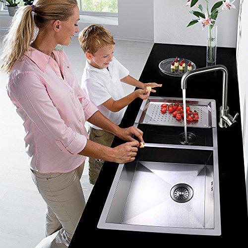 Homelody – 360° drehbare Küchenarmatur, hoher Auslauf, Chrom - 9