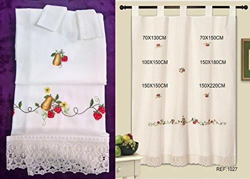 ForenTex - 2 x Cortinas, visillos de cocina, (LS-1027), 2 cortinas 70 x 130 cm, bordadas, clásicas de las de toda la vida, Bordados de Frutas y Encaje Floral decorativo, máxima calidad y muy duradera. No te dejes engañar por las cortinas de calidad 'todo a 100'. 1-4 cortinas paga solo un envío, descuento equivalente al finalizar la compra.