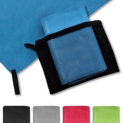 casa pura® Mikrofaser Handtuch Magic Dry | Blau | 80x180 | schnelltrocknend | platzsparend in Netztasche unterbringbar