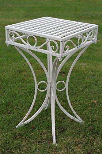 Olive Grove, Beistelltisch oder Untergestell aus Metall, im Versailles-Stil und in antiker weißer Ausführung