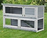 Clapier en Lapin spacieux/clapier Lapin extérieur Flauschi – imperméable – Deux etages - Nettoyage Facile - 130 x 49 x 83 cm – Gris/Blanc,