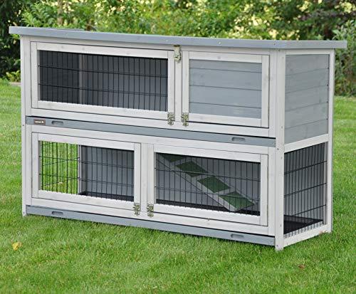 Clapier en Lapin spacieux/clapier Lapin extérieur Flauschi - imperméable - Deux etages - Nettoyage Facile - 122 x 49 x 83 cm - Gris/Blanc,