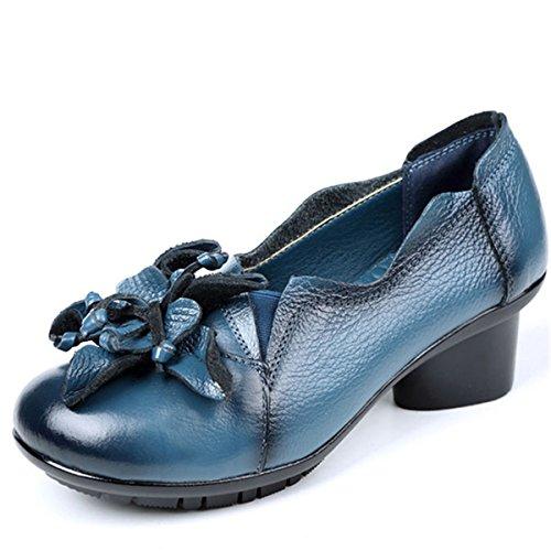 Socofy Mokassin Damen Pumps, Damen Leder Slipper Klassische Pumps Blume Loafers Metallic Party Schuhe Leder-Optik Ballerinas Vintage Halbschuhe Herbstschuhe