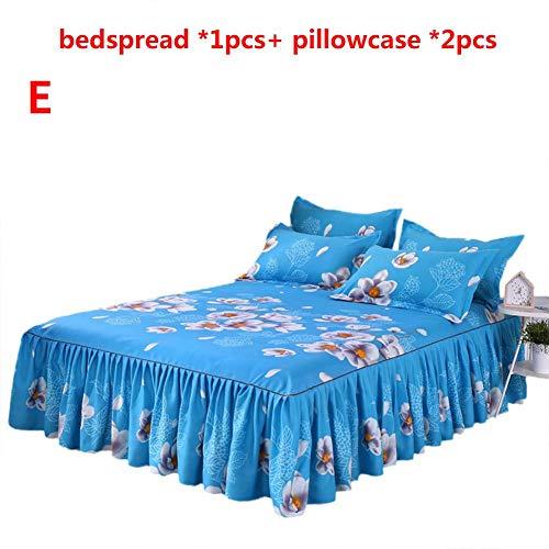 Happt 3PCs Hautfreundliche Baumwoll Tagesdecke Set, Bett Rock Queen Size Single-Layer Inklusive 1 Tagesdecke 2 Kissenbezüge Flower Series (1,5 2 M) -