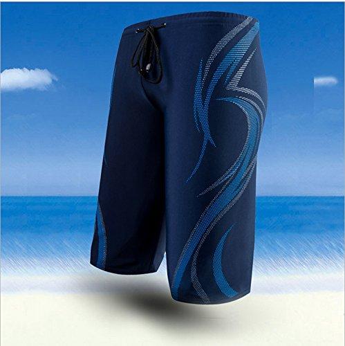 Demarkt Herren Slim Fit Mode Urlaub Strand-Shorts Sommer Knie Länge Badehose Blau-XL