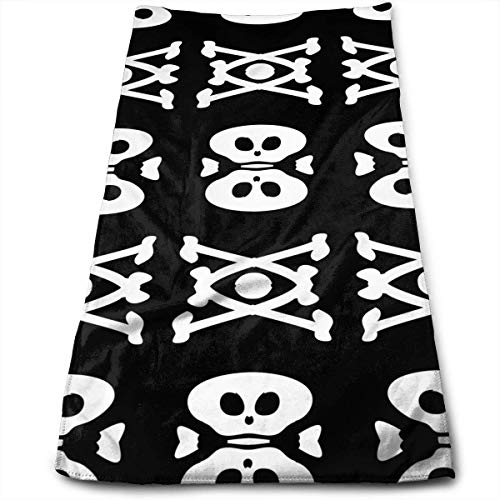 Skull and Crossbones Black and White Microfiber Travel & Sports Towel, Ultra Compact, Lightweight, Absorbent and Fast Drying Towels, Ideal for Gym,Fitness, Exercise, Yoga