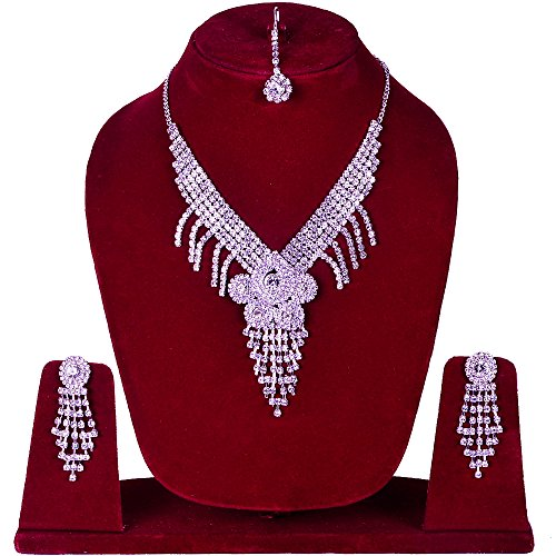 Diamond Necklace Earring Jewelry Set / Diamond Necklace Set for Women For Diwali & Karva Chauth Occasion Gift