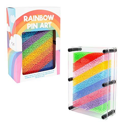 Invero Regenbogen-Pin-Spielzeug, Retro-3D-Effekt, Kunststoff, ideal für Desktop, Büro, Zuhause, lustiges Gadget, 17,8 x 12,7 cm