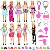 Miunana 30 Item = 10 Kleider + 10 Paar Schuhe + 10 Zubehör, Röcke Puppenzubehör Outfit Kleidung...