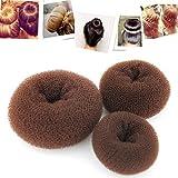 Tia-Ve 3pcs Mode Bandeaux, Accessoires Cheveux Donut Chignon Bun Maker pour Femmes et Filles, Marron (Grande + Medium Petite)...