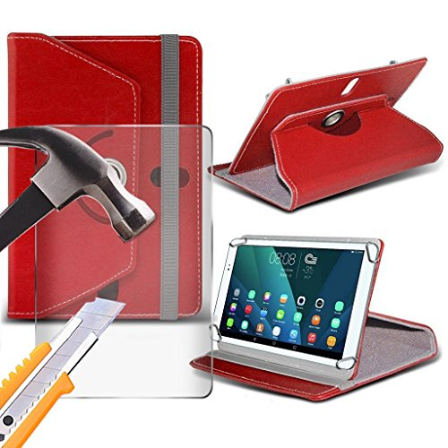 Preisvergleich Produktbild (Rot) PolaTab Q10.1 8X 16GB [10.1 Zoll ] [stand] für PolaTab Q10.1 8X 16GB [10.1 Zoll ] Tablet-PC hülle, Tasche Cover [stand] Dauerhafte synthetischen PU-Leder 360 Roatating Hülle [stand] mit 4 Federn mit echtem Glas Screen Protector von Ich- Tronixs®