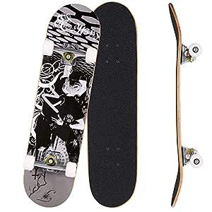 Bunao Skateboard Komplettboard 31 x 8 Zoll mit ABEC-7 Kugellager 9-lagigem Ahornholz für Kinder Jungendliche und…