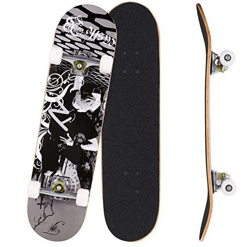 Bunao Skateboard Komplettboard 31 x 8 Zoll mit ABEC-7 Kugellager 9-lagigem Ahornholz für Kinder Jungendliche und Erwachsene, Belastung 100kg (Farbe 2)