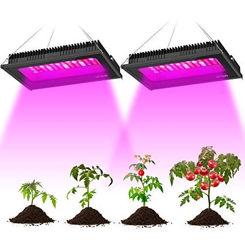 Olafus 2 pz grow light 600w, lampada per piante coltivazione spettro completo di luci 72 leds con 46 rossi 11 blu 2 ir 11 bianco e 2 uv, ip66 impermeabile accelerare crescita fioritura fruttificazione