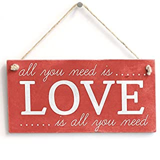 'All you need is Love.Love is all you need' - Handmade Shabby Chic Wooden Sign/Plaque