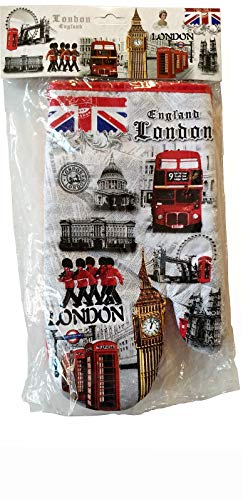 ZA Product London England Guanto da Forno – 100% Cotone da Cucina o Barbecue, Big Ben/Tower Bridge/Eye/Red Telephone Boxes/Double Decker Routemaster Bus, Royal Guards/Westminster/British Souvenir