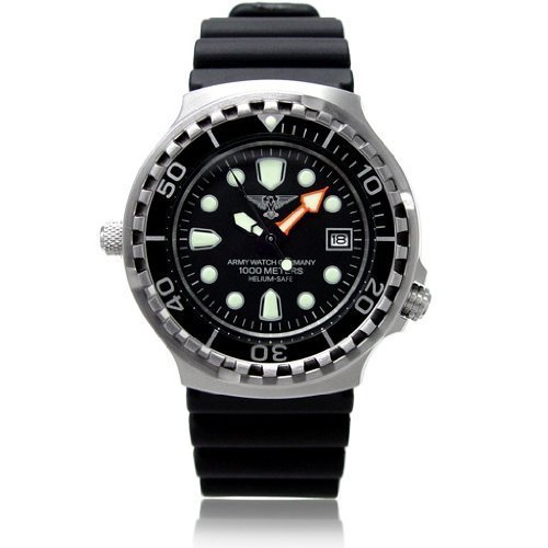 Army Watch Date - diver 1000 m with helium valve - operation watch - Ref. EP895