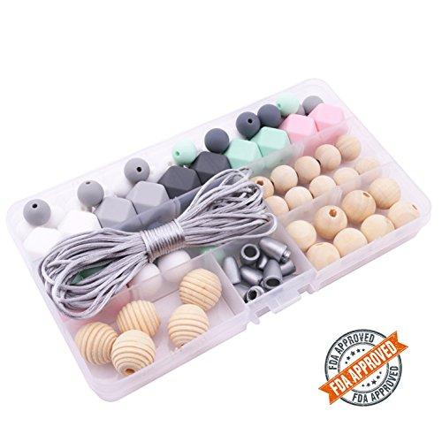 n Baby Teether Spielzeug zum Baby-Duschen-Geschenke BPA frei Set wegbrechen Schließe mit Kauen Weich Teethers Halskette Perlen ()