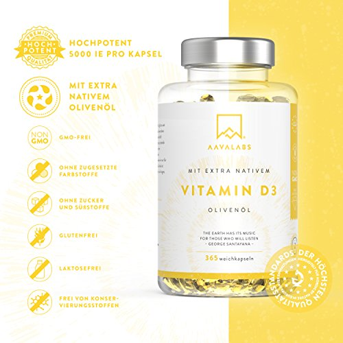 Hochdosiert Vitamin D3 [ 5000 IE ] Depot von Aava Labs – mit Extra Virgin Olivenöl für optimale Absorption – Frei von Gentechnik, Gluten und Laktose – Unterstützt Knochen-,