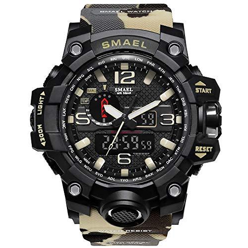 XYhjd Wasserdichte Dual-Display-Uhr der Militäruhr Wasserdichte Multifunktions-LED elektronische Uhr tarnen die Uhr der Männer,D