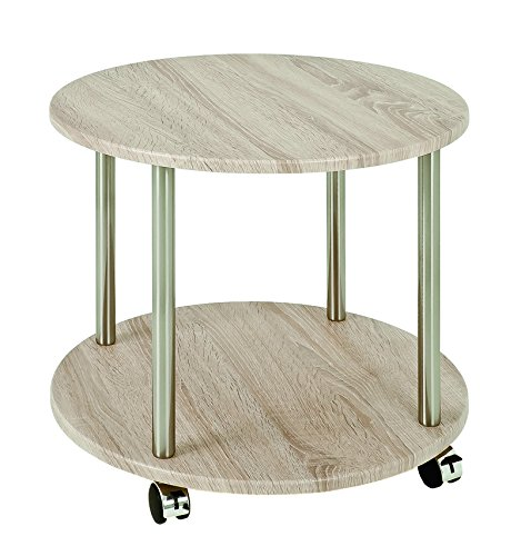 PEGANE Table pour desserte en Tube d'acier Coloris Optique INOX-chêne, Dim : Hauteur 45 cm