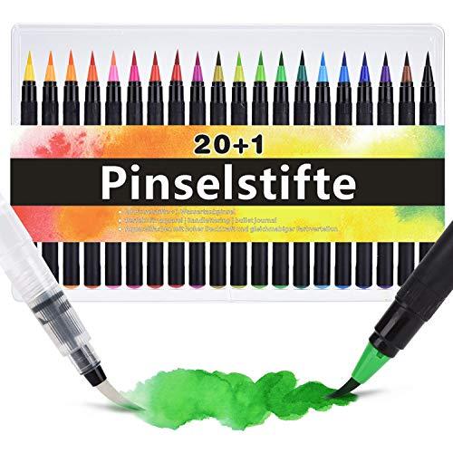 erfarben Pinselstift [ 20 Aquarellstife +1 Wassertankpinsel ] Ideal für Aquarellmalerei Bullet Journal Kalligraphie Handlettering Zeichnungen Malen ()
