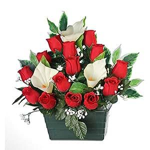 Ligne Déco 471202WO - Fiori artificiali per cimitero, vaso con zavorra, composizione di boccioli di rosa e calle, 36 cm