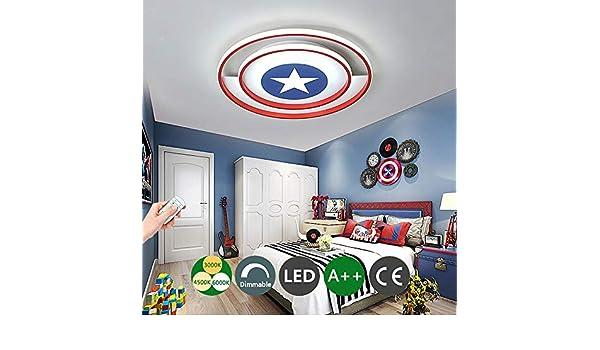 LED Deckenleuchte Captain America Decor Leuchte Mit Fernbedienung dimmbar Moderne Acryllampe Wohnzimmer Schlafzimmer Esszimmer Arbeitszimmer Junge M/ädchen Kinderzimmer Lampe,38W/Ø40CM