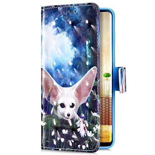 Uposao Kompatibel mit Samsung Galaxy S10 Plus Handyhülle Bunt Bling Glitzer Glänzend Muster Leder Tasche Schutzhülle Brieftasche Handytasche Lederhülle Klapphülle Case Flip Cover,Weiß Fuchs