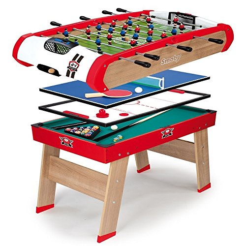 Smoby - 640001 - BabyFoot - Powerplay 4 en 1 - BabyFoot - Ping -Pong - Hockey et Billard - Structure Bois - Accessoires Inclus