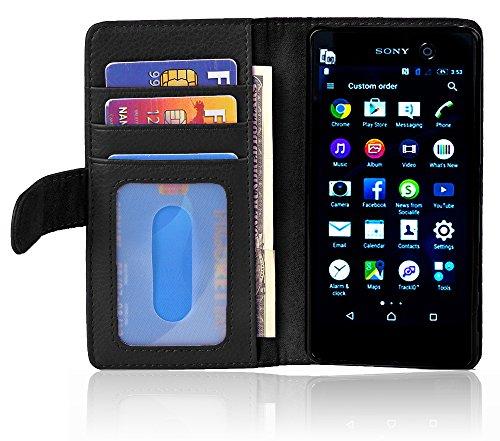 Cadorabo Hülle für Sony Xperia M5 - Hülle in Oxid SCHWARZ - Handyhülle mit 3 Kartenfächern - Case Cover Schutzhülle Etui Tasche Book Klapp Style