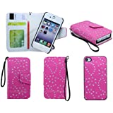 Apple iPhone 4 / 4G / 4S Glitter Sparkly Floral Print Premium Leather Book Magnetic 2 in 1 Flip Wallet Case Cover With Detachable Internal Hard Case + Screen Protector & Polishing Cloth (Hotpink Magnet)