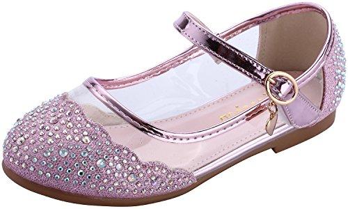 he Schuhe Mary Jane Casual Slip On Ballerina Mädchen Glas Glitzer Schuhe (27/Innere Länge: 18cm, Pink) (Mädchen Verkleiden Sich Schuhe)