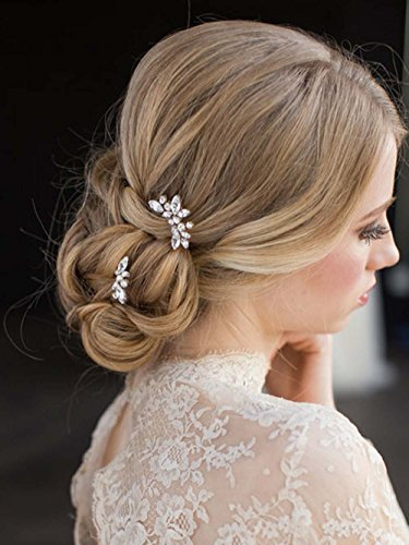 simsly Hochzeit Haarnadeln Strass Kristall Braut Haar-Accessoires für Braut und Brautjungfer (Silber/3Stück) fs-035