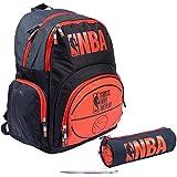 Lot mochila 2compartimentos NBA gráfica + 1estuche redondo a juego + 1bolígrafo blumie