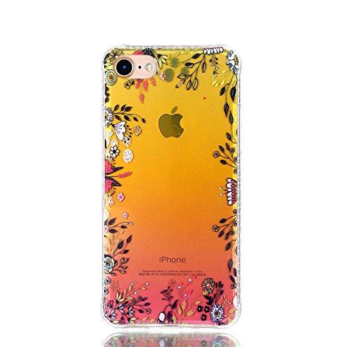 iPhone 7 Coque, Voguecase TPU avec Absorption de Choc, Etui Silicone Souple Transparent, Légère / Ajustement Parfait Coque Shell Housse Cover pour Apple iPhone 7 4.7 (fleur rouge et papillons 08)+ Gra Fleur et papillon 01