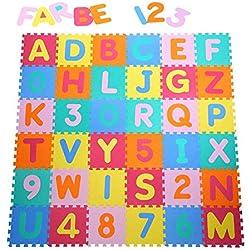 Alfombra puzzle para bebe 36 piezas números y letras Goma EVA pieza de 32 x 32 cm