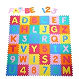 Yorbay Alfombra puzzle para Niños bebe infantil, esteras de 32x32 cm, 36 piezas Numeros 0 al 9 y 26 Letras en Espuma EVA