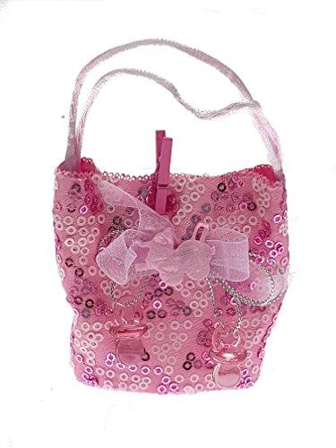 Piccoli monelli Kleine Rasselbande  konfektschachtel Geburt Taufe BOMBONIERA Mädchen Packung mit 5Stück Handtasche paillettes-rosa