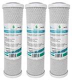 3x AquaHouse AH-CTO5 Cartouches de filtre à eau en bloc de carbone de 10 po pour eau potable, systèmes d'osmose inverse, s'adapte à tous les boîtiers de filtre de 10 ' 25cm