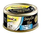GimCat ShinyCat Filet – Katzenfutter mit 100% Filet für ausgewachsene Katzen – ohne Zuckerzusatz und glutenfrei – Thunfisch – 48 Dosen (48 x 70 g)