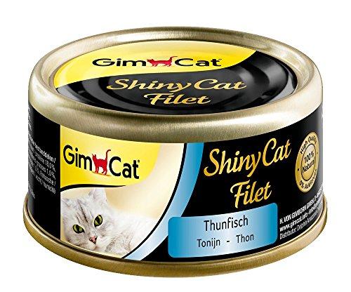 GimCat ShinyCat Filet – Katzenfutter mit 100{56bb4d96a07232639b13f27f24d26c2a89d479655de1c99427a1f86620d3ed9e} Filet für ausgewachsene Katzen – ohne Zuckerzusatz und glutenfrei – Thunfisch – 48 Dosen (48 x 70 g)