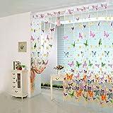 accuni Romantische Schmetterling Transparent Vorhänge Gardinen Tüll Tür Fenster Bildschirm 1x 2m