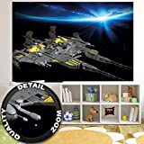 Fototapete Kinderzimmer Weltall Wandbild Dekoration Raumschiff Weltraum Battleship Millenium Falke Galaxie Welt Erde Space All | Foto-Tapete Wandtapete Fotoposter Wanddeko by GREAT ART (210 x 140 cm)
