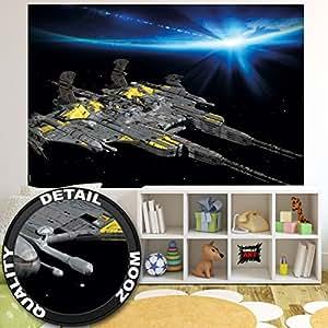 Papier peint photo vaisseau spatial - image murale d'un cuirassé spatial - décoration murale qui montre l'éspace avec un vaisseau spatial by GREAT ART (210 cm x 140)
