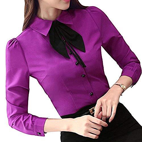 Bininbox Elegant Damen Bluse Langarm mit Schleife OL Business Hemdbluse Regular Fit Oberteil in 4 Farben L Lila