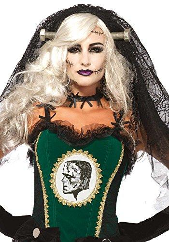 Leg Avenue A2754 - Frankensteins Braut Spitzenschleier - Einheitsgröße, schwarz (Frankenstein Und Frau Kostüm)