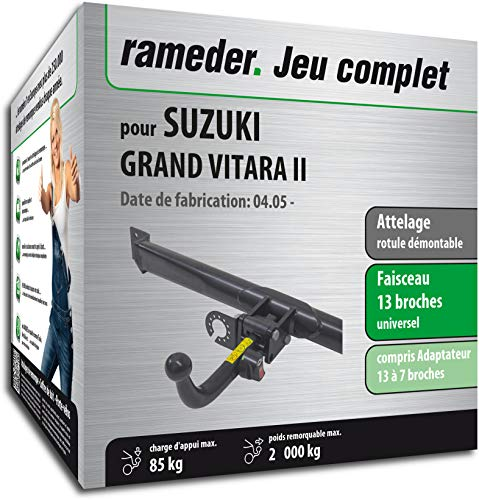 Rameder Attelage rotule démontable pour Suzuki Grand Vitara II + Faisceau 13 Broches (162604-05489-1-FR)
